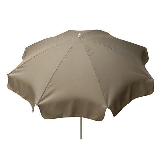 Parasol droit Lola gris doré rond, L.240 x l.240 cm