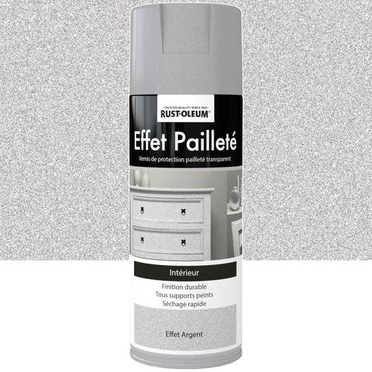 peinture a rosol effet paillettes paillet rustoleum gris argent 0 4 l leroy merlin. Black Bedroom Furniture Sets. Home Design Ideas
