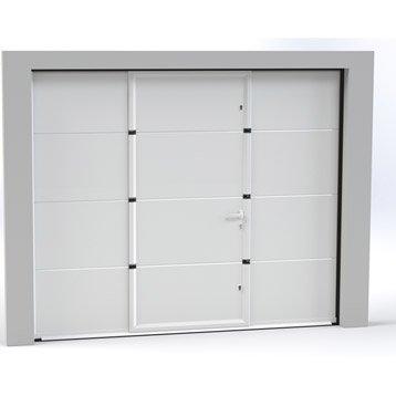 Porte de garage sectionnelle motorisée ARTENS essentiel 200x300cm avec portillon