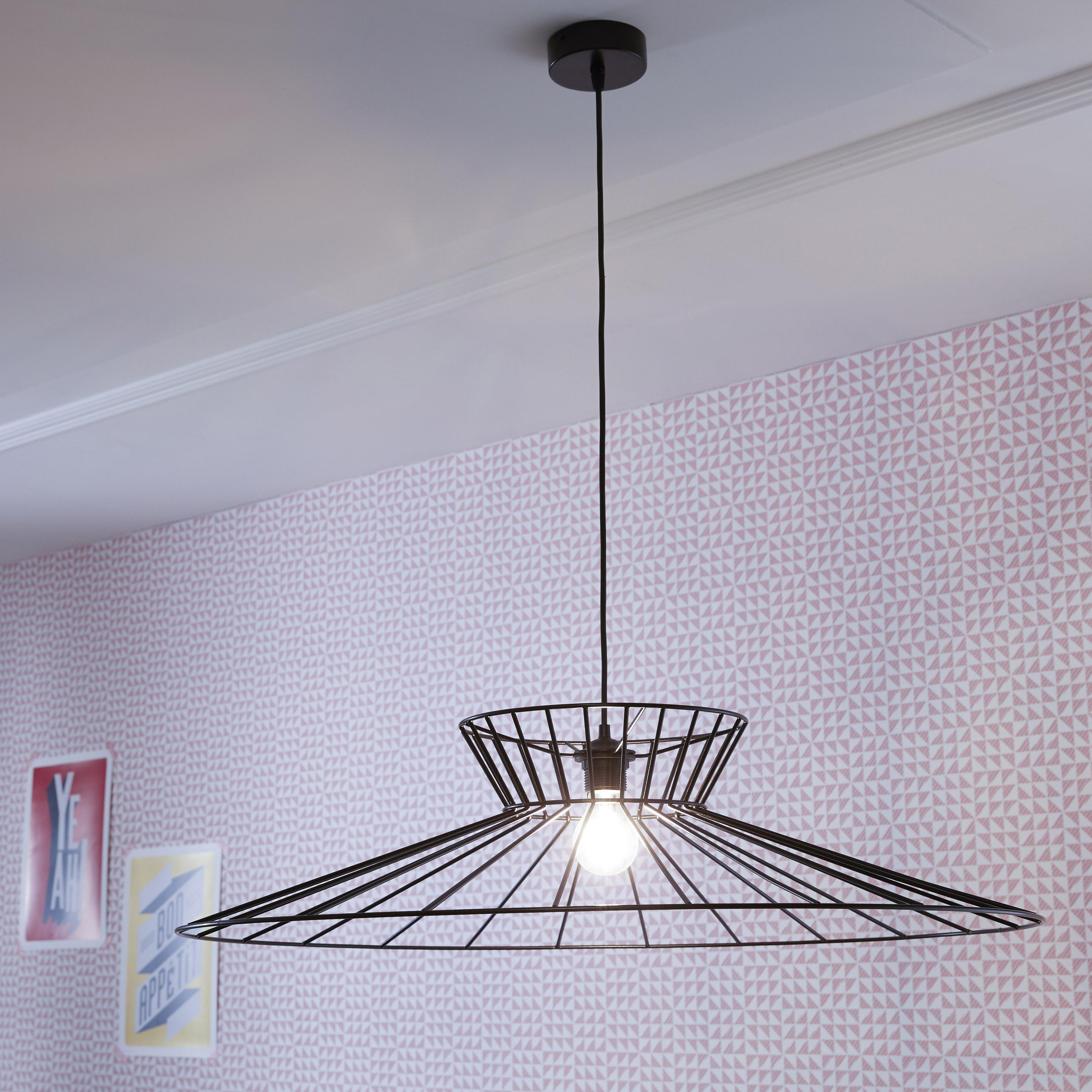 Suspension, design métal noir METROPOLIGHT Othilie 1 lumière(s) D.78 cm