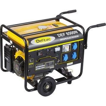 Groupe électrogène essence de chantier DEFITEC 6500 + chariot, 5000 W