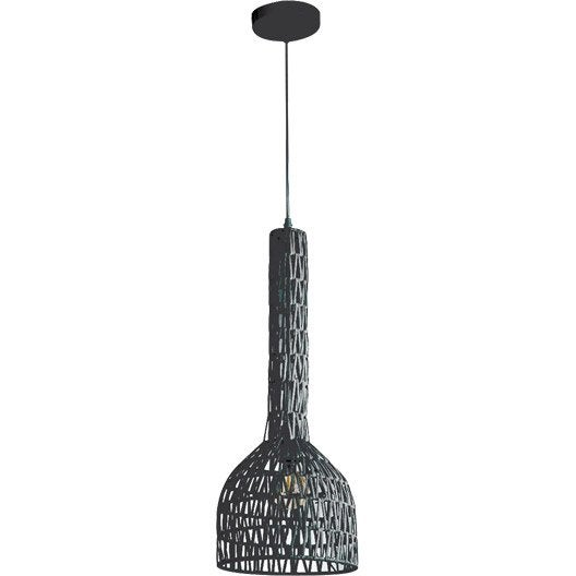 Suspension nature la la rotin noir 1 x 60 w lussiol for Suspension nature