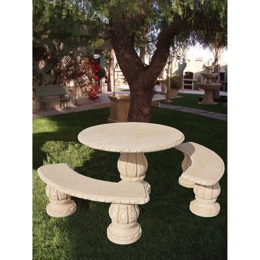 Salon Bas De Jardin Alamo Ocre 1 Table Ronde 2 Bancs Courbes Leroy Merlin