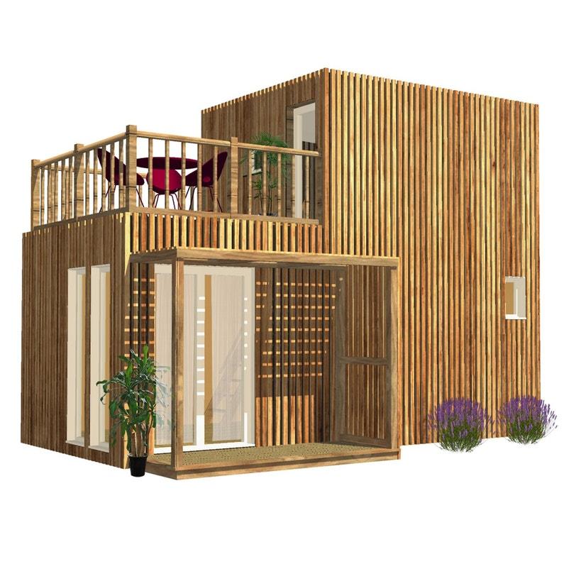 Studio De Jardin En Bois Greenkub 30m Avec Terrasse Leroy Merlin