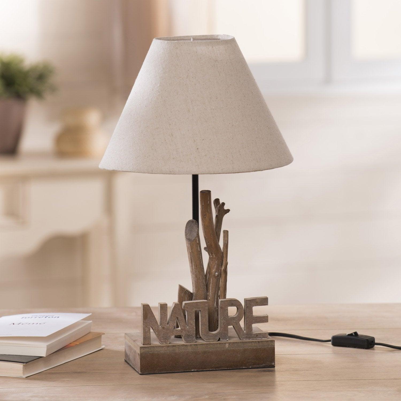 Lampe, e27 Nature SEYNAVE, tissu écru, 60 W