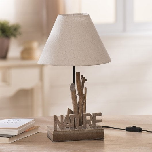 Lampe nature seynave tissu cru 60 w leroy merlin for Lampe salon fly