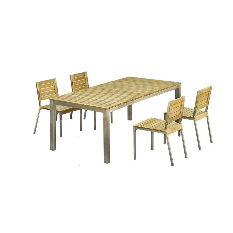 Salon de jardin Robinox bois naturel, 6 personnes   Leroy Merlin
