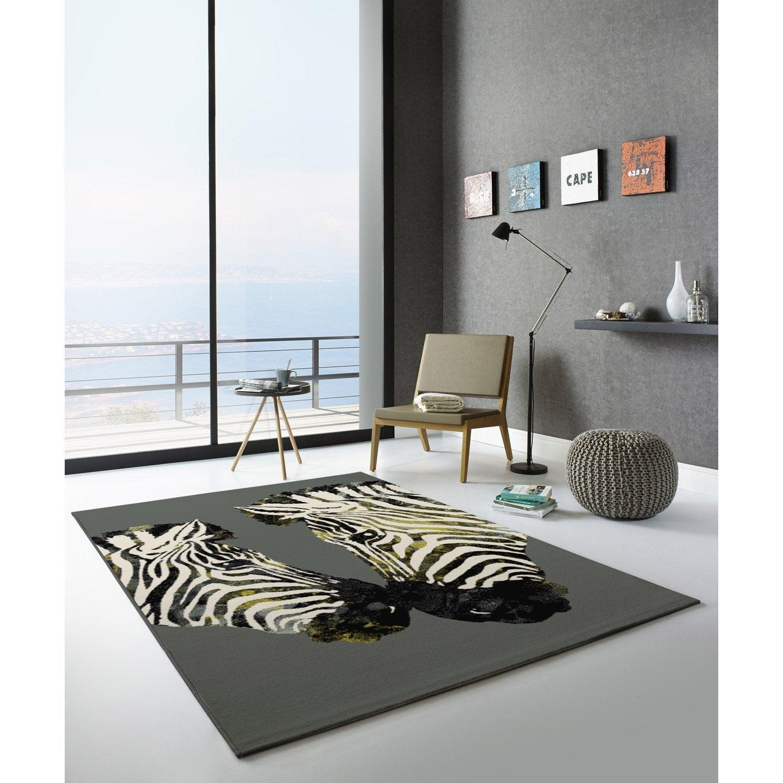 Tapis noir et blanc velours, l.120 x L.170 cm