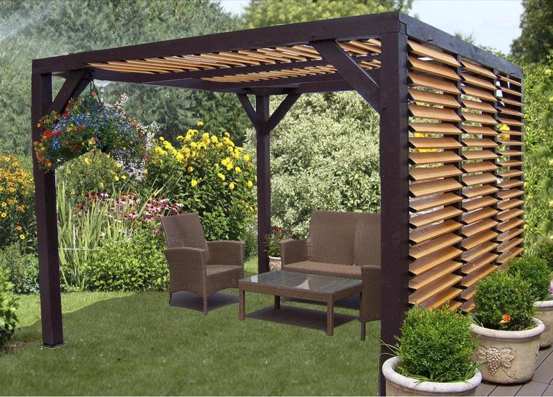 Pergola pour terrasse ou balcon Vt 3536, bois naturel