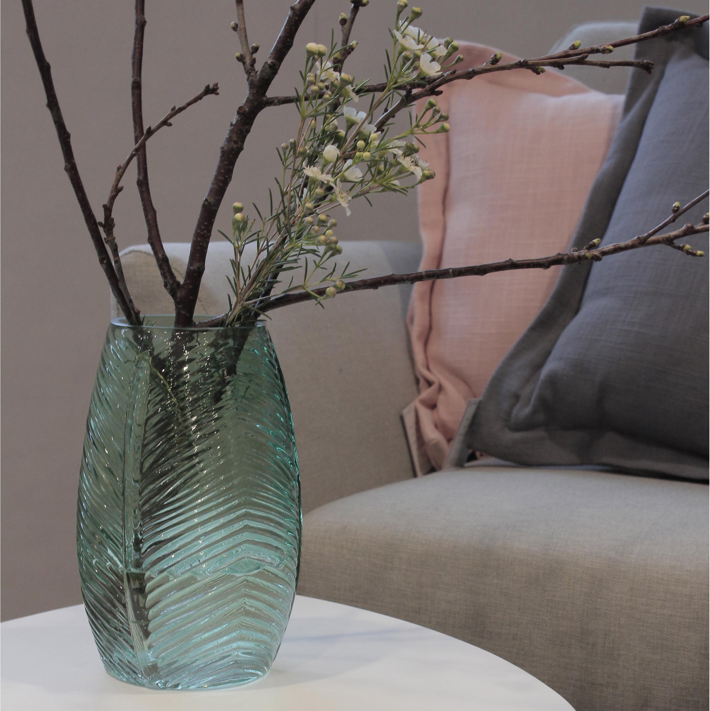 Vase décoratif verre Lea, vert l.13 x H.20 cm
