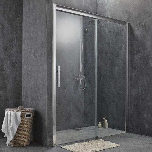porte de douche coulissante 160 cm transparent adena leroy merlin. Black Bedroom Furniture Sets. Home Design Ideas