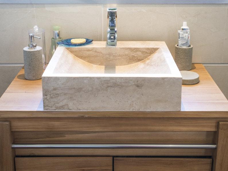 Vasque à Poser Ninon Et Meuble De Salle De Bains Bornéo Leroy Merlin - Vasque beige salle de bain