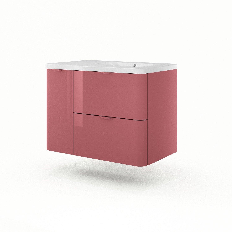 meuble vasque 90 cm rouge neo shine leroy merlin. Black Bedroom Furniture Sets. Home Design Ideas