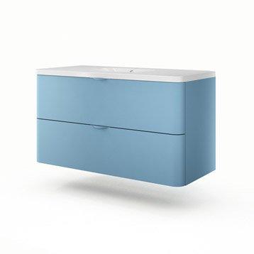 Meuble vasque l.120 x H.64 x P.52.5 cm, bleu, SENSEA Neo shine