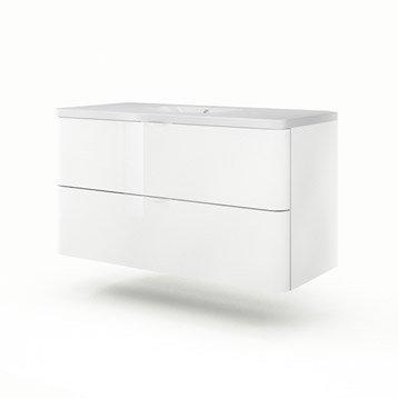 Meuble vasque l.120 x H.64 x P.52.5 cm, blanc, SENSEA Neo shine