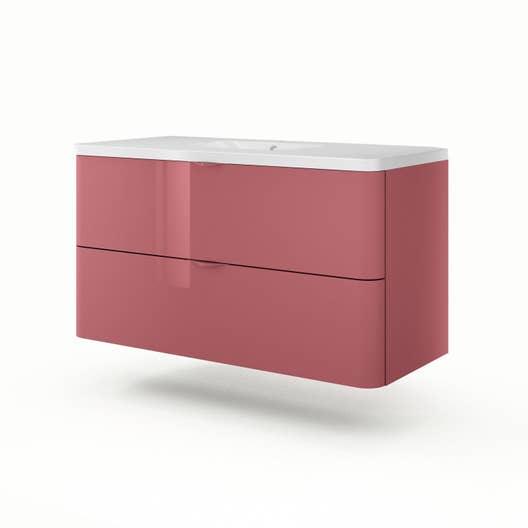 Salle De Bain Neo Shine ~ meuble vasque 120 cm rouge neo shine leroy merlin