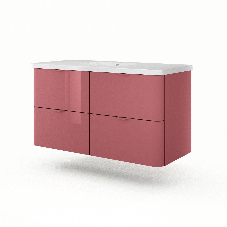 Meuble vasque 120 cm rouge neo shine leroy merlin - Meuble vasque 120 cm ...