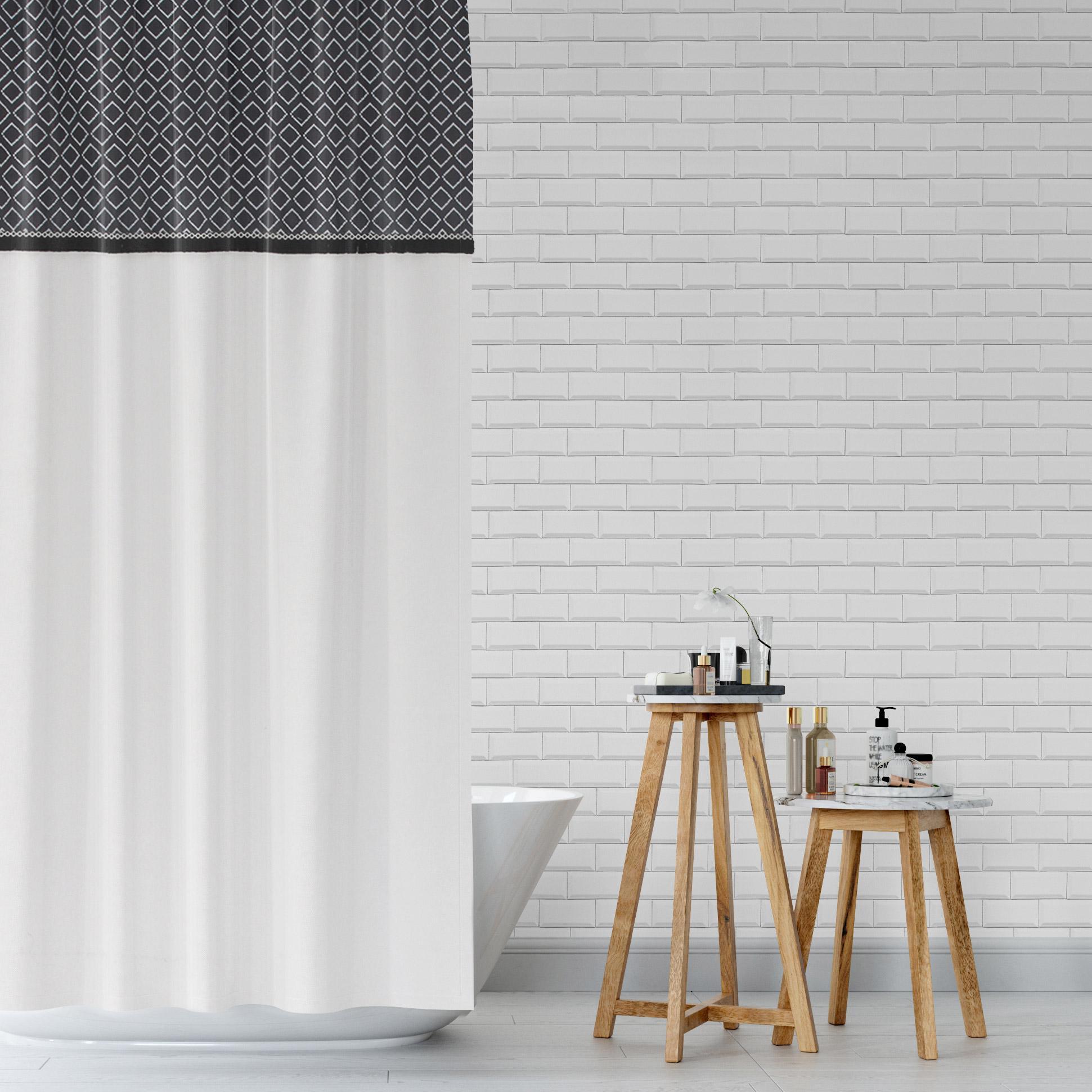 Rideau de douche en textile l.125 x H.175 cm, Folk SENSEA