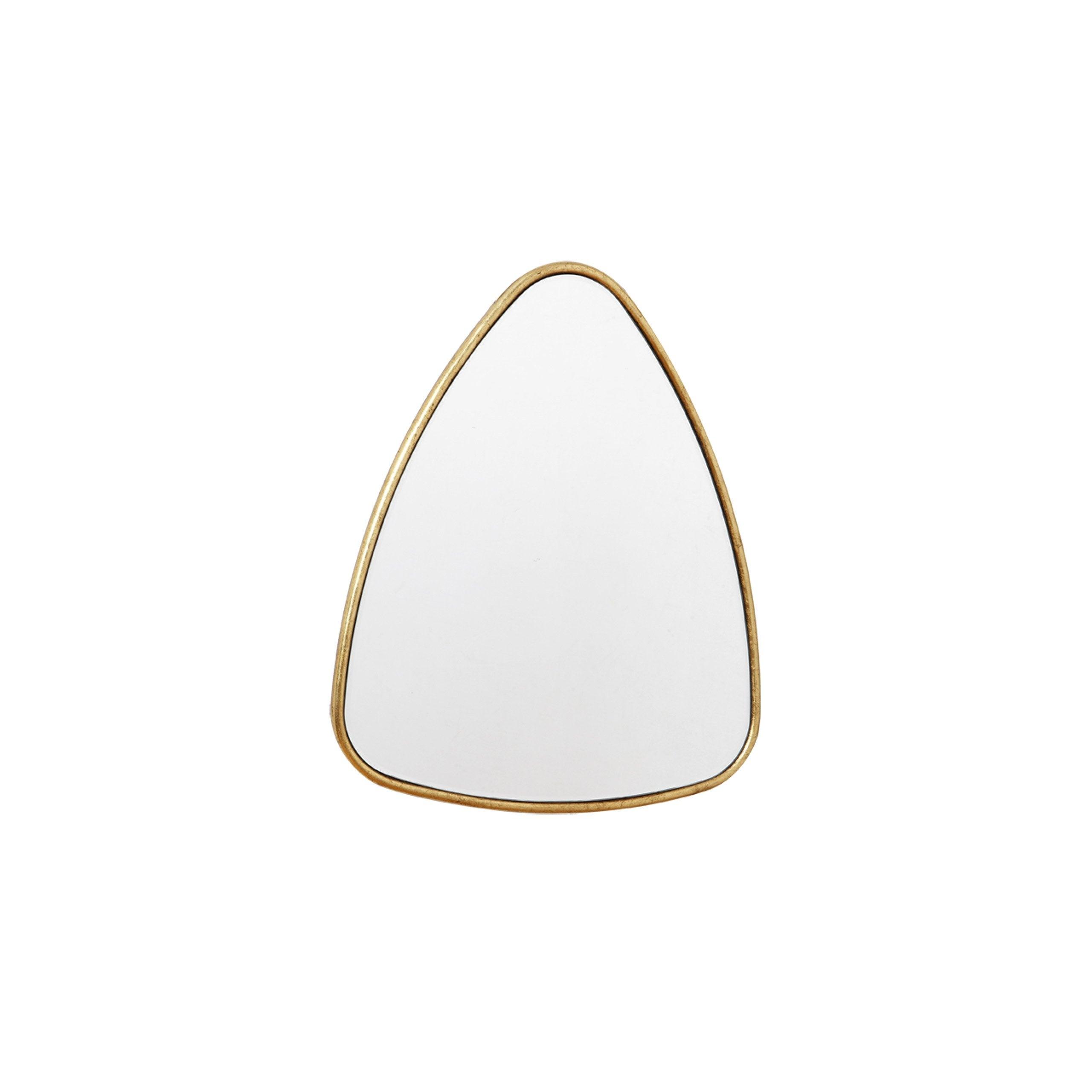 Miroir triangulaire, dorée, l.42 x H.50 cm