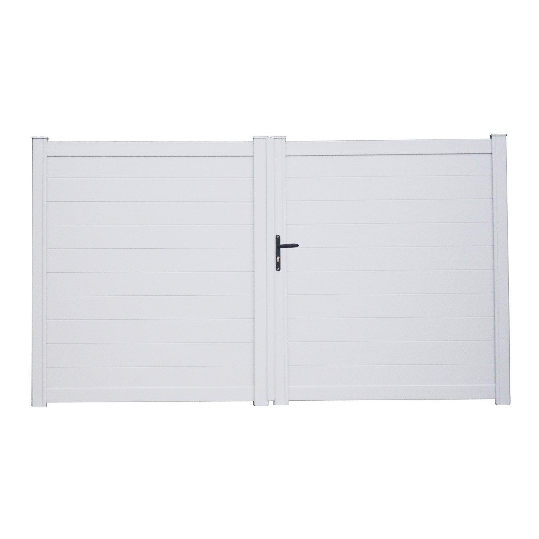 Portail battant aluminium lao blanc naterial cm leroy merlin for Portail aluminium battant 350