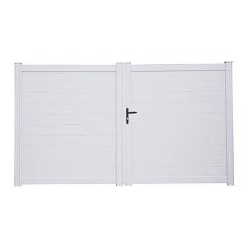 Portail battant aluminium Lao blanc NATERIAL, l.350 cm x H.170 cm