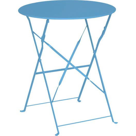 Table de jardin naterial flore ronde bleu 2 personnes leroy merlin - Table de jardin ronde robin naterial ...