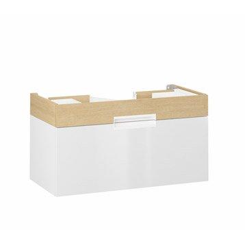 Meuble sous-vasque l.90.0 x H.48.0 x P.45.0 cm, imitation chêne, Eden, 2 tiroirs