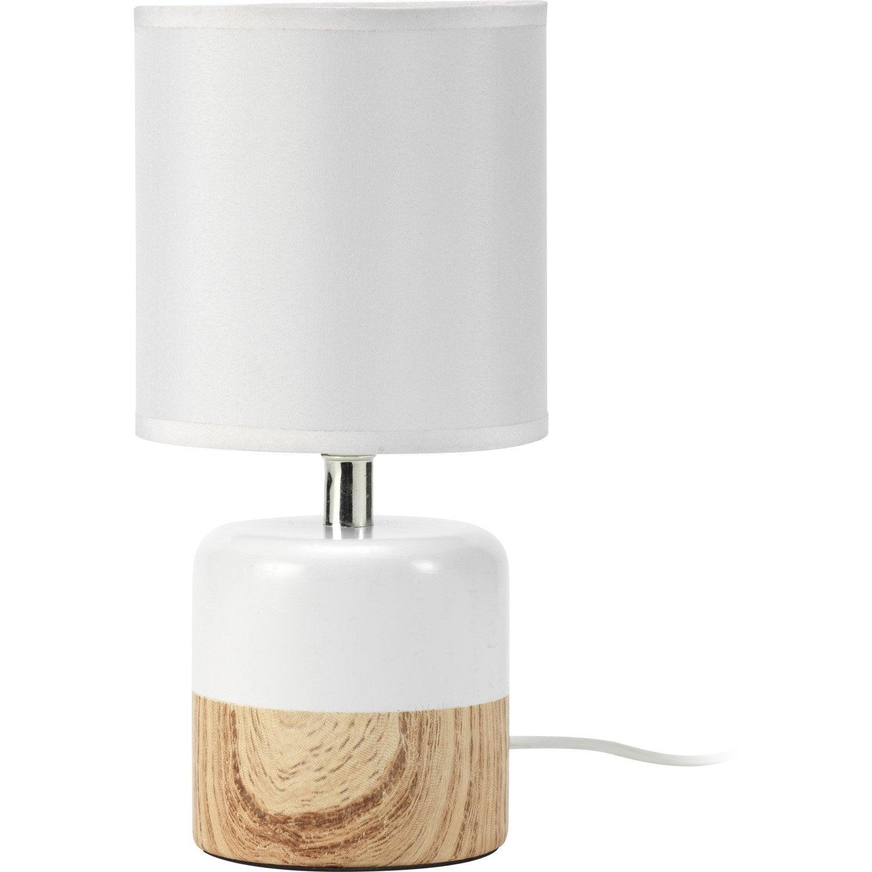 lampe e14 wood mathias coton blanc 40 w leroy merlin. Black Bedroom Furniture Sets. Home Design Ideas