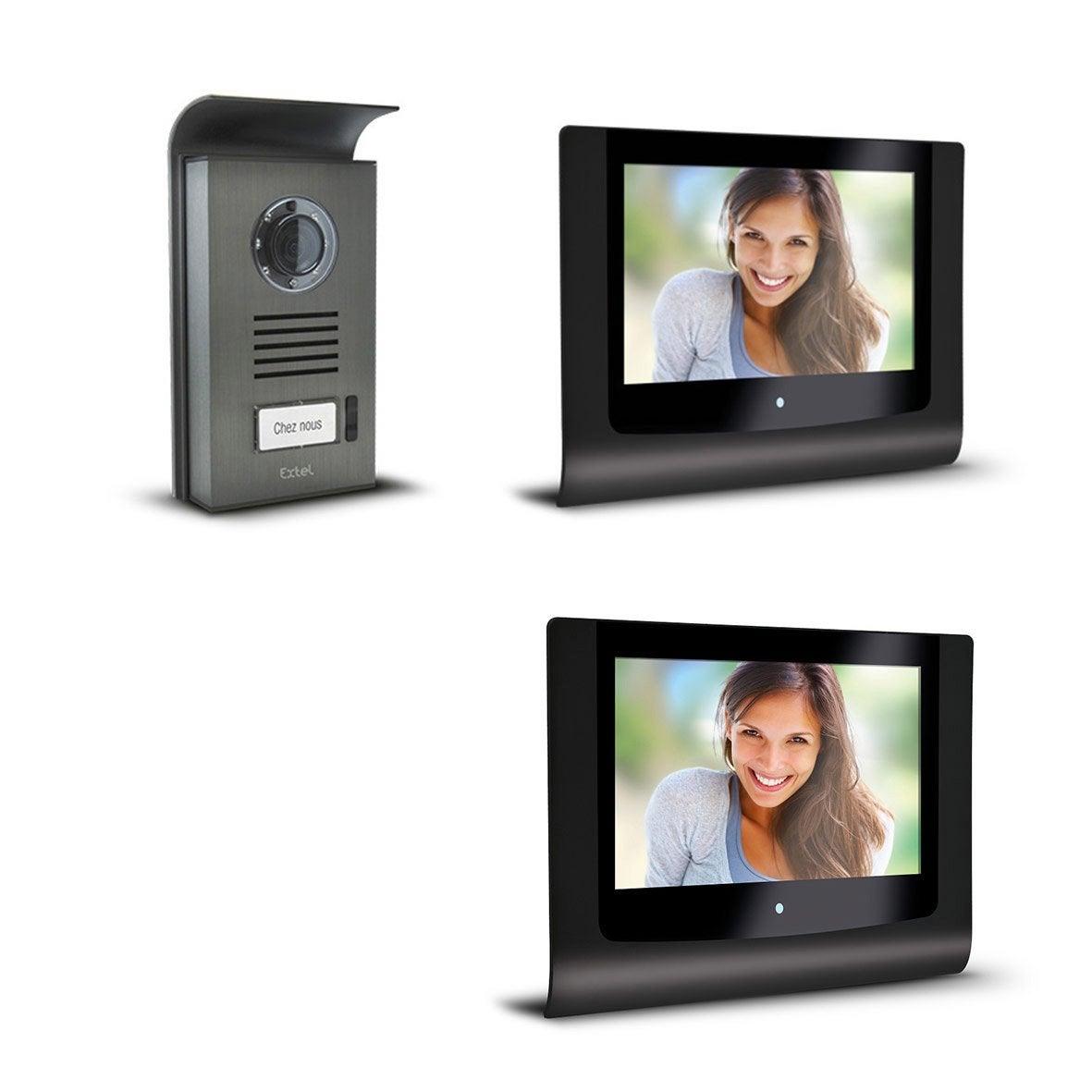 pack visiophone 1 platine 2 crans filaire extel step leroy merlin. Black Bedroom Furniture Sets. Home Design Ideas