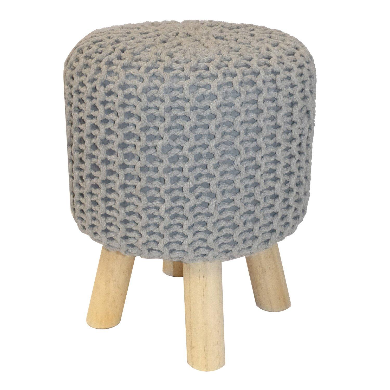 pouf tr pied tricot gris x cm leroy merlin. Black Bedroom Furniture Sets. Home Design Ideas