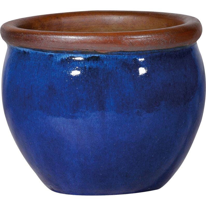 Pot Terre Cuite émaillée Deroma Diam 20 X H 21 Cm Bleu
