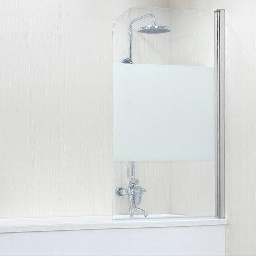 Pare-baignoire 1 volet pivotant H.140cm x l.85cm verre sécurité sérigraphié Quad