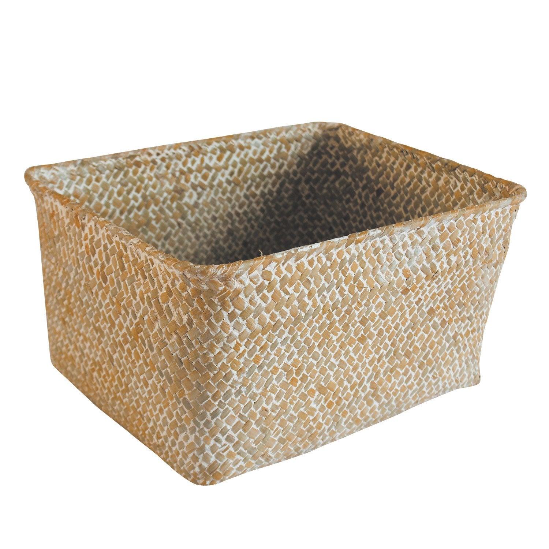 panier en jonc de mer rectangle naturel panama leroy merlin. Black Bedroom Furniture Sets. Home Design Ideas