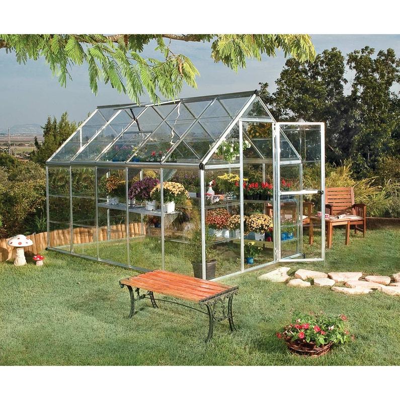 Serre de jardin argent HARMONY 5.6 m², aluminium et polycarbonate, PALRAM