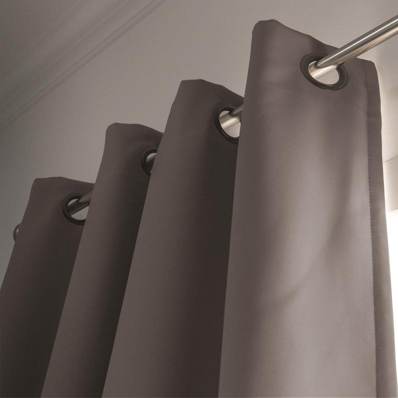 Rideau occultant, Phonique, gris taupé, l.145 x H.260 cm | Leroy Merlin