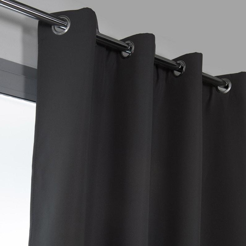 Rideau Obscurcissant Thermique Stop Froid Plus Gris Foncé L 140 X H 250 Cm