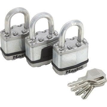Lot de 3 cadenas à clé MASTERLOCK acier laminé, l.45 mm