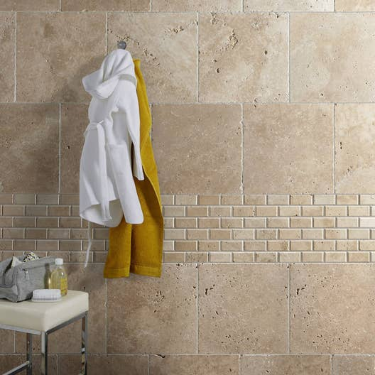 mosa que mur mineral travertin ivoire 4 8 x 10 cm leroy merlin. Black Bedroom Furniture Sets. Home Design Ideas