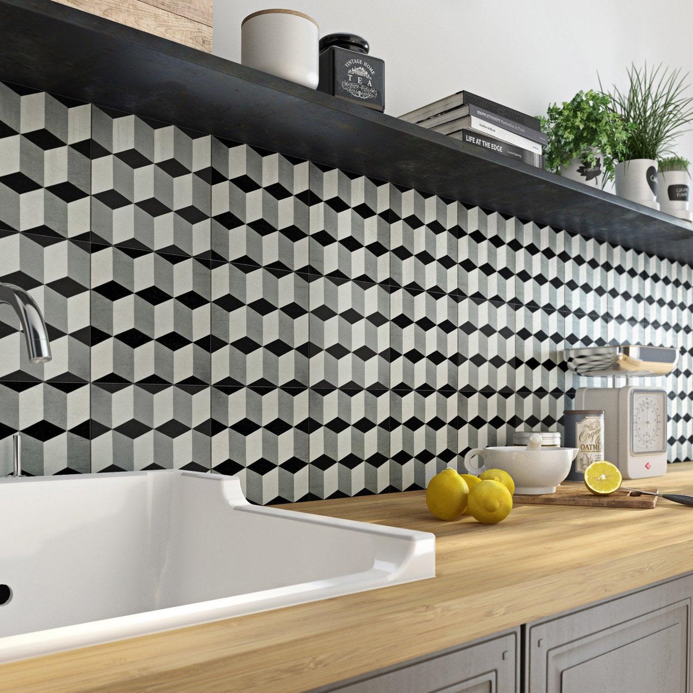 Carreau de ciment mur uni gris, noir, blanc mat l.20 x L.20 cm, Belle époque emy