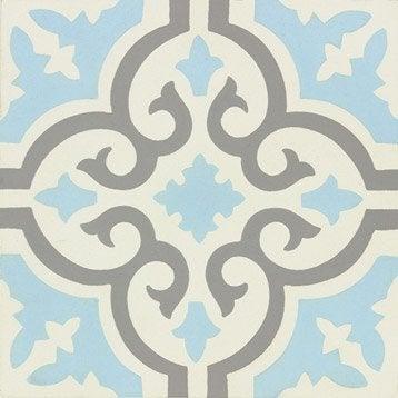 Carreau de ciment Belle époque décor elise gris, bleu et blanc, l.20 x L.20 cm