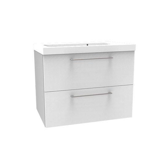 meuble vasque l.76 x h.57.7 x p.46 cm, blanc, sensea remix | leroy
