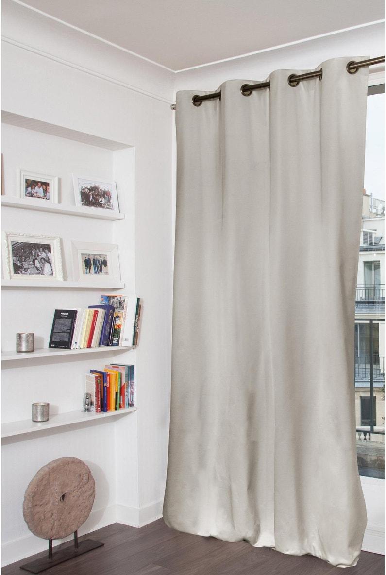 Rideau occultant, Hortense, gris clair, l.135 x H.260 cm