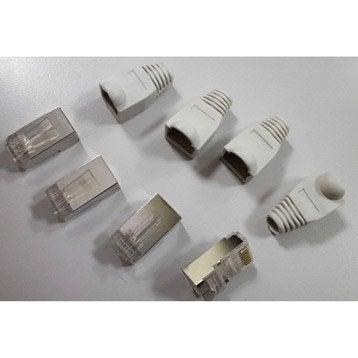 Lot de 4 connecteurs + 4 manchons rj45 (catégorie 6) mâle EVOLOGY