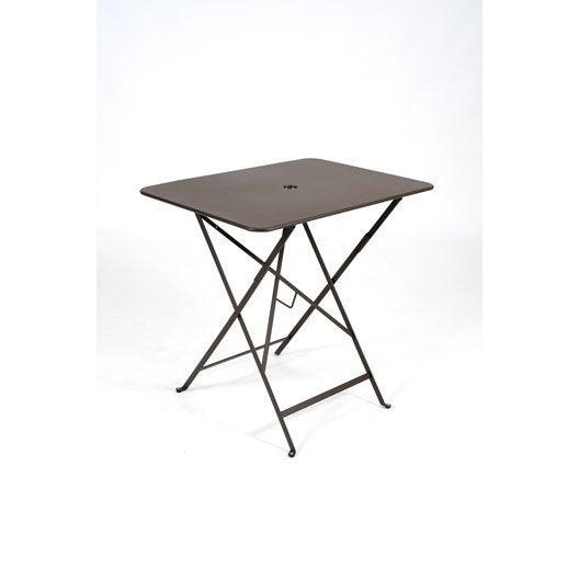table de jardin fermob bistro rectangulaire rouille 2 personnes leroy merlin. Black Bedroom Furniture Sets. Home Design Ideas