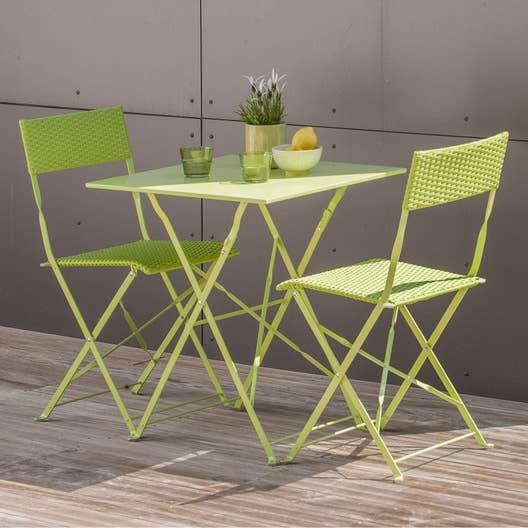 salon de jardin mezzo acier vert 2 personnes leroy merlin. Black Bedroom Furniture Sets. Home Design Ideas