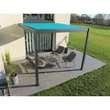 Pergola adossée Ombrie, aluminium gris anthracite, 12 m²