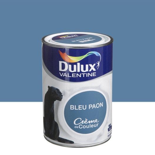 Peinture bleu paon satin dulux valentine cr me de couleur l leroy merlin - Couleur bleu paon ...