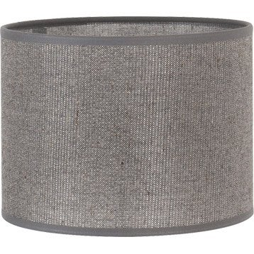 Abat-jour Tube, 40 cm, coton, gris paillettes