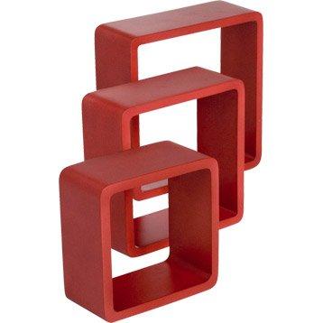Etagère 3 cubes rouge-rouge n°3 rouge-rouge n°3 SPACEO, L.28 x P.28 cm Ep.15 mm