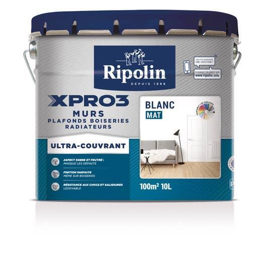 Peinture blanche mur plafond et boiserie xpro3 ripolin - Peinture blanche salon ...